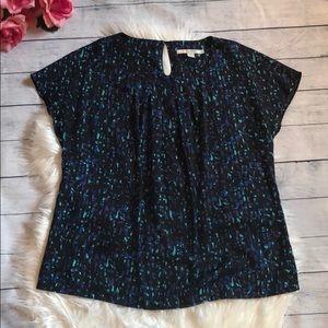 Boden Geometric Blue Patterned Silk Blend Blouse